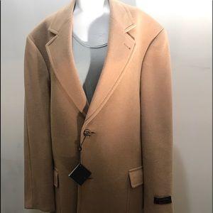 Men's camel hair trench pea coat